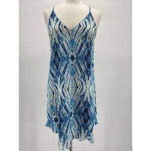Rory Becca Blue and White Tie Dye Silk Slip Dress